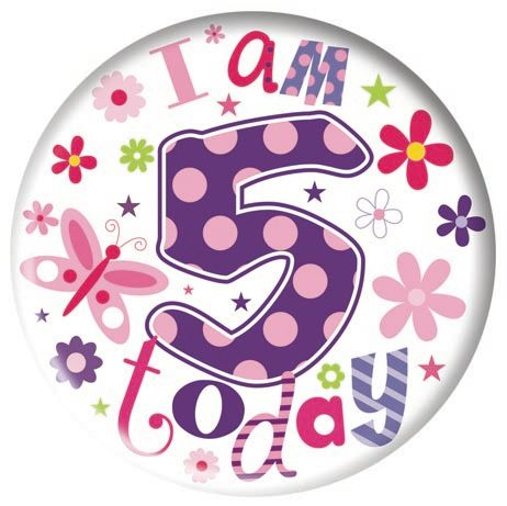 Badge 5cm Happy Birthday Age 5 Girl