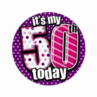 Badge 5cm Happy Birthday Age 50 Female