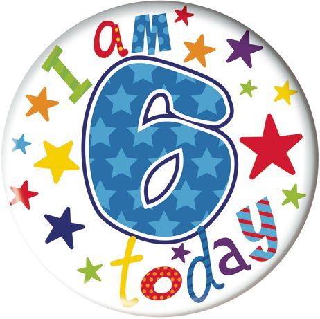 Badge 5cm Happy Birthday Age 6 Boy