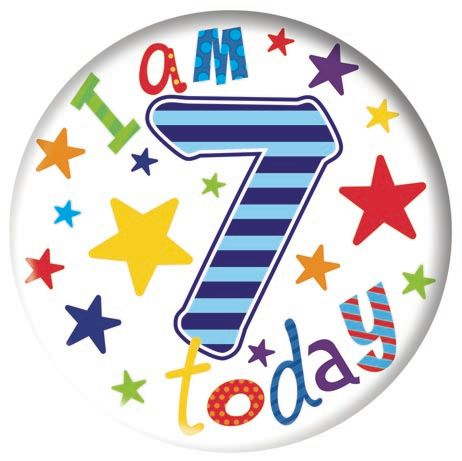 Badge 5cm Happy Birthday Age 7 Boy