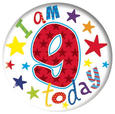 Badge 5cm Happy Birthday Age 9 Boy