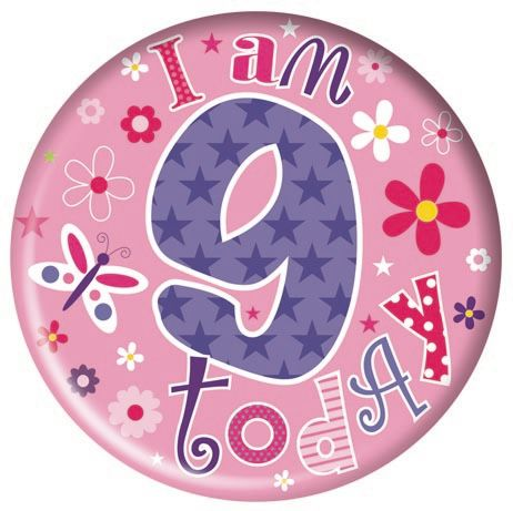 Badge 5cm Happy Birthday Age 9 Girl