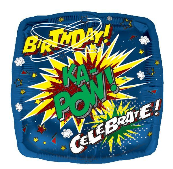 Balloon Foil Helium - Happy KA POW Birthday Superhero Party Decoration