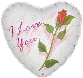 Balloon Foil - I Love You & Rose Party Decoration