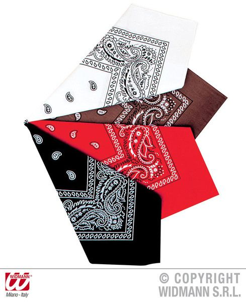 Bandana 55cm (Brown/White/Red/Black) Hat Biker Pirate 90s Rock Fancy Dress