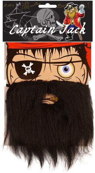 Black Beard for Pirate Jesus Character Fancy Dress Accessory with Elastic Strap