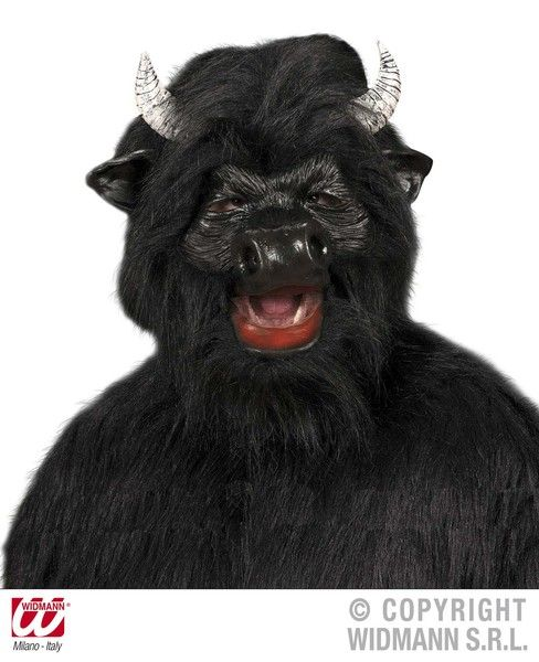 Black Bull Mask W/Plush Fur Rodeo Cow Animal Fancy Dress