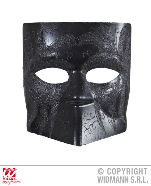 Black Executioner Dodge Mask W/ Glitter Middle Ages Dungeon Prison Torturer