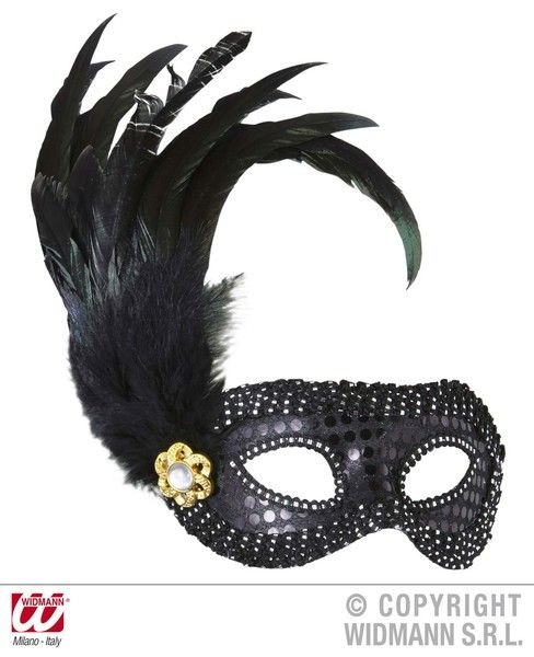 Black Sequin Eyemask Eye-Mask Masquerade Ball Mask Fancy Dress