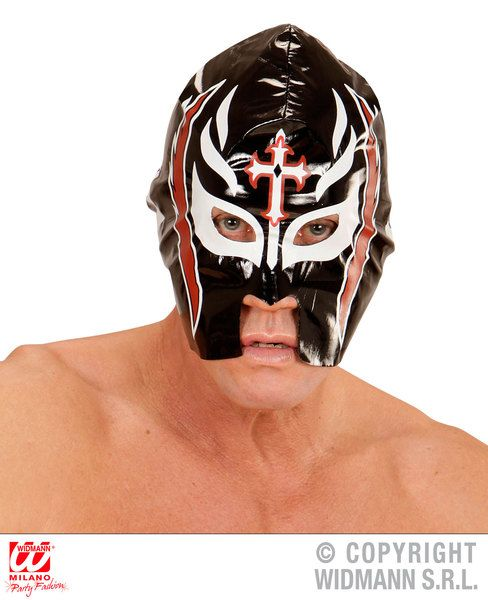 Black Wrestler Mask Sport Wwf Mexican Fighting Fancy Dress