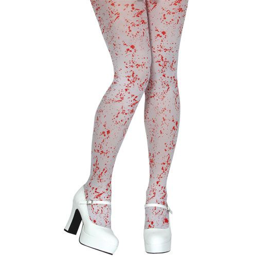 Blood Spattered Tights / White Makeup for Bleeding Wound Vampire Fancy Dress