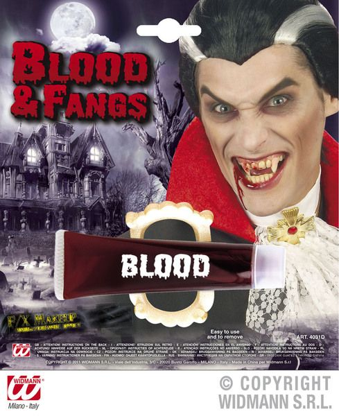 Blood Tubes With Fangs Vampire Zombie Bleeding Cosmetics