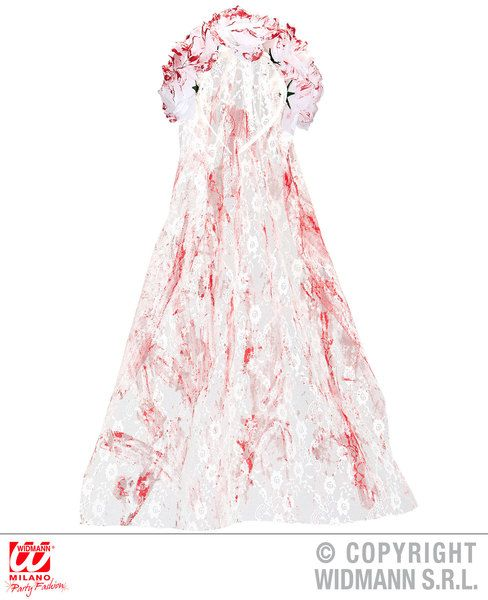 Bloody Bridal Veil with Roses Vampire Zombie Bleeding Fancy Dress Cosplay