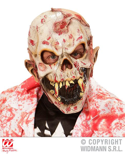 Bloody Human Eater Zombie 3/4 Mask Vampire Zombie Bleeding Fancy Dress