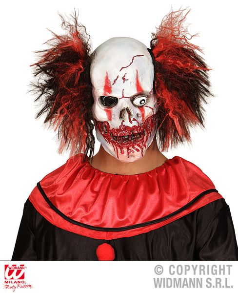 Bloody Mouth Clown Mask W/Hair Vampire Zombie Bleeding Fancy Dress