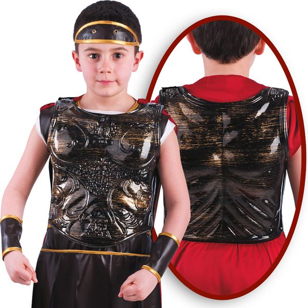 Boys Breast Plate for Roman Bronze Sparticus Caesar Cesar Rome Greek Gladiator Toga