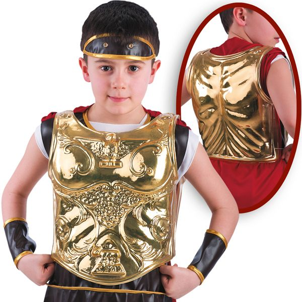 Boys Breast Plate for Roman Gold Sparticus Caesar Cesar Rome Greek Gladiator Toga