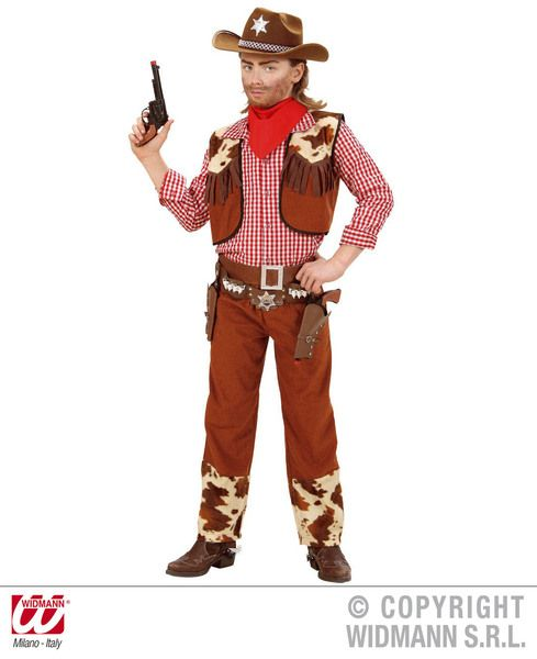 Boys Brown Cowboy Costume Wild West Usa Rodeo Dallas Farmer Fancy Dress Outfit