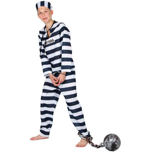 Boys Chain Gang Convict Costume for Cops Police Robbers Fancy Dress Kids Childs