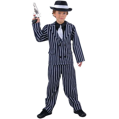 Boys Chicago Gangster Costume 20s 30s Gangsters Molls Fancy Dress Kids Childs