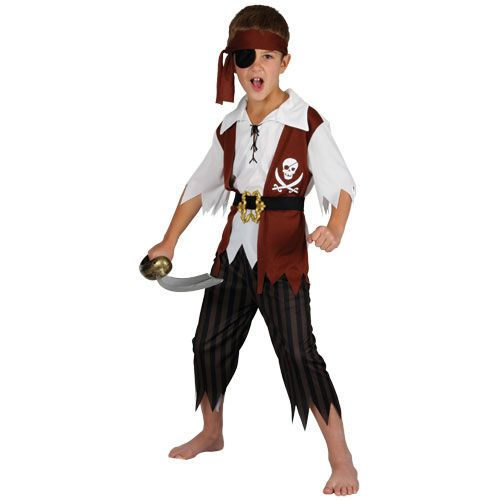 Boys Cutthroat Pirate Costume for Sweeny Todd Slash Slit throat Fancy Dress