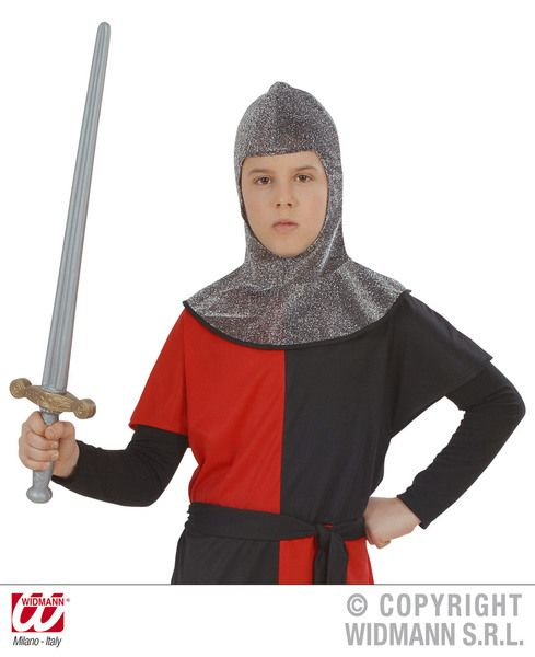 Boys Medieval Warrior Hood Metallic Historic Ancient Middle Ages Fancy Dress