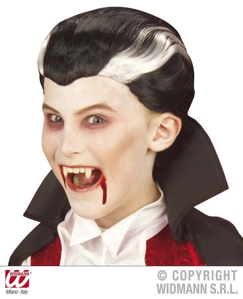 Boys Vampire Wig In Polybag Size Halloween Dracula Vamp Fancy Dress