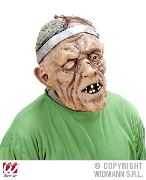 Brain Surgery Mask With Hair Zombie Halloween Body Part Fancy Dress