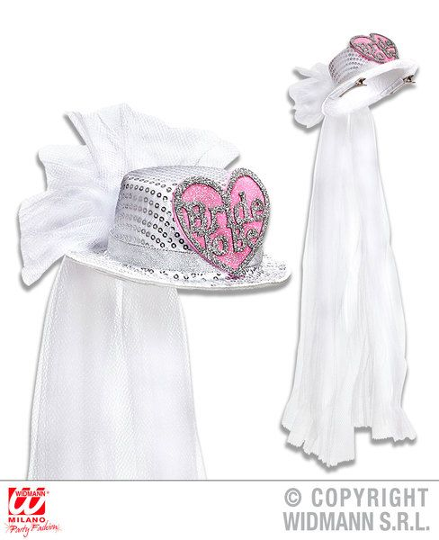 Bride To Be Heart Sequin Top Hat W/ Bridal Veil Love Eros Valentine Romantic