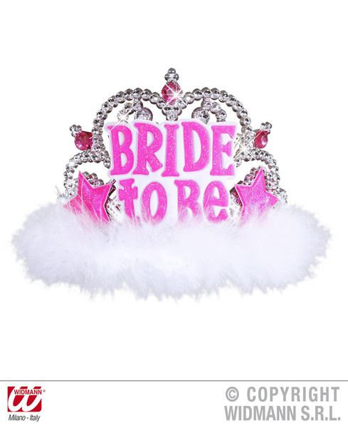 Bride To Be Tiara W/ White Marabou Hat Hen Princess Prom Queen Fancy Dress