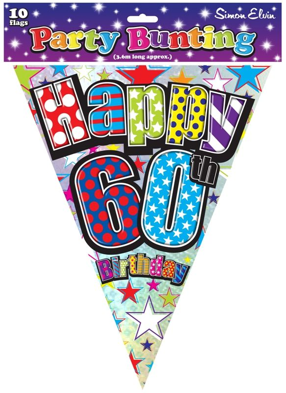 Home Partyware Banners Bunting Garlands Happy Birthday 60th