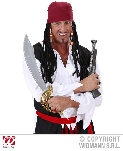 Caribbean Pirate Bandana & Dreads Dreadlocks Sparrow Fancy Dress