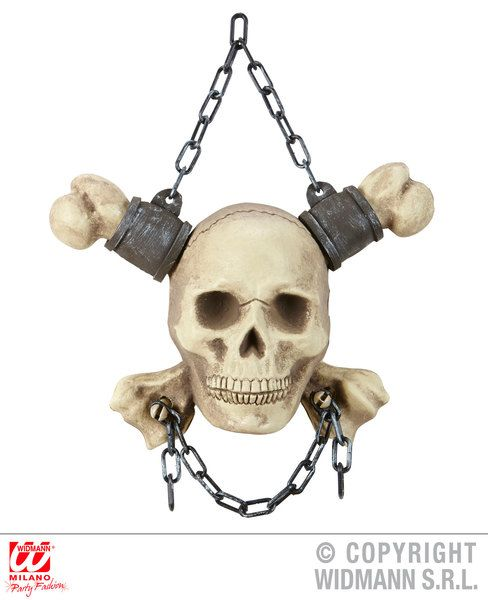 Chained Skull & Crossbones 28 cm Decoration Pirate Halloween Skeleton Head Party