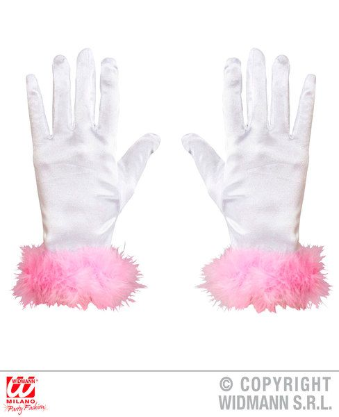 Child Size Satin Gloves Pink Marabou Trim Magician Glamour Halloween Fancy Dress