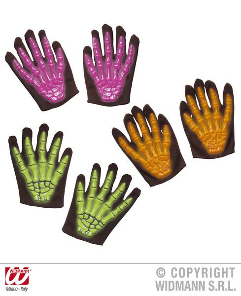 Child Skeleton Gloves 3D Neon Size 3 Colss Halloween Walking Dead Trick Or