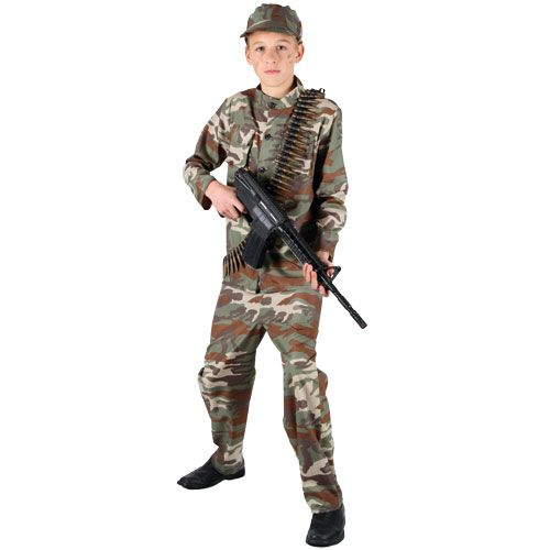 Childrens Boys Action Commando Costume for Army Soldier Superhero Fancy Dress