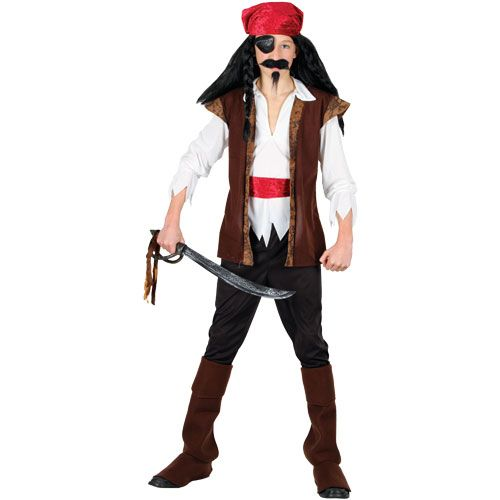Childrens Boys Caribbean Pirate Costume for Tropical Jamaican Fancy Dress