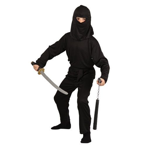 Childrens Boys Dark Ninja Costume for Oriental Fighter Soldier Fancy Dress