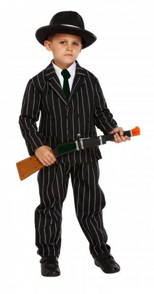 Childrens Boys Gangster Costume for 20s 30s Mob Fancy Dress