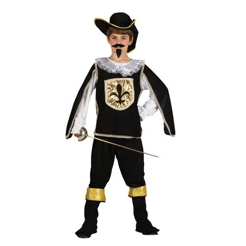 Childrens Boys Musketeer Black Costume for Athos Aramis D'Artagnan Fancy Dress