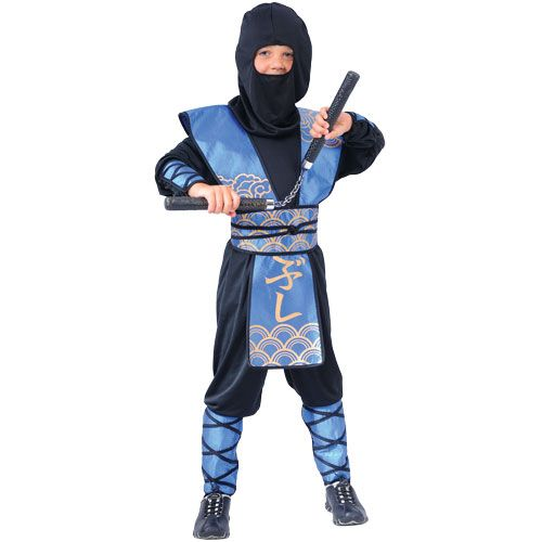 Childrens Boys Ninja Warlord Costume for Oriental Fighter Soldier Fancy Dress