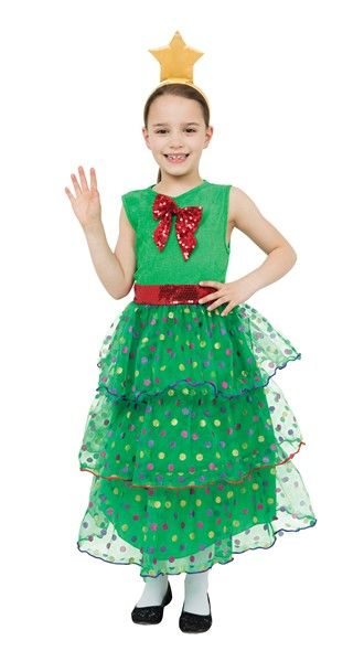 Childrens Christmas Tree Girl Costume Festive Xmas Nativity Fancy Dress Outfit