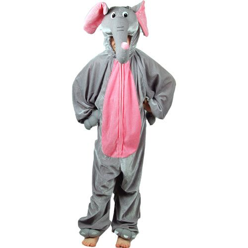 Childrens Elephant Costume for African Indian Jungle Animal Tusks Fancy Dress