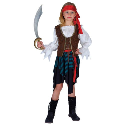 Childrens Girls Caribbean Pirate Girl Costume for Tropical Jamaican Fancy Dress