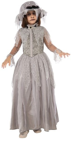 Childrens Victorian Ghost Costume Scroodge Dickens Halloween Fancy Dress Outfit