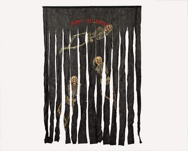 Curtain Black with Skeletons 210x150cms Halloween Trick or Treat