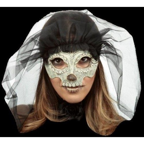 Day of the Dead Catrina & Veil Eyemask Halloween Fancy Dress Disguise