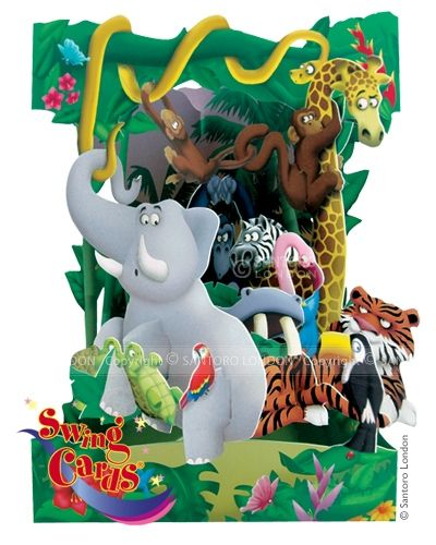 Deluxe Girls Boys Birthday Card Jungle Animals 3d Swing Pop Up Greeting 17719 P