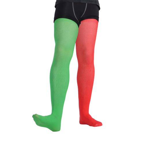 Elf Tights Red & Green - (Female) for Festive Dwarf Christmas Helper Fancy Dress