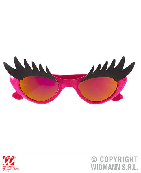 Eyelash Glasses for 60s 80s 00s Fancy Dress Accessory